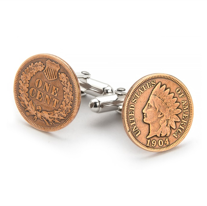 Tokens and Icons Indian Head Penny Coin Cufflinks