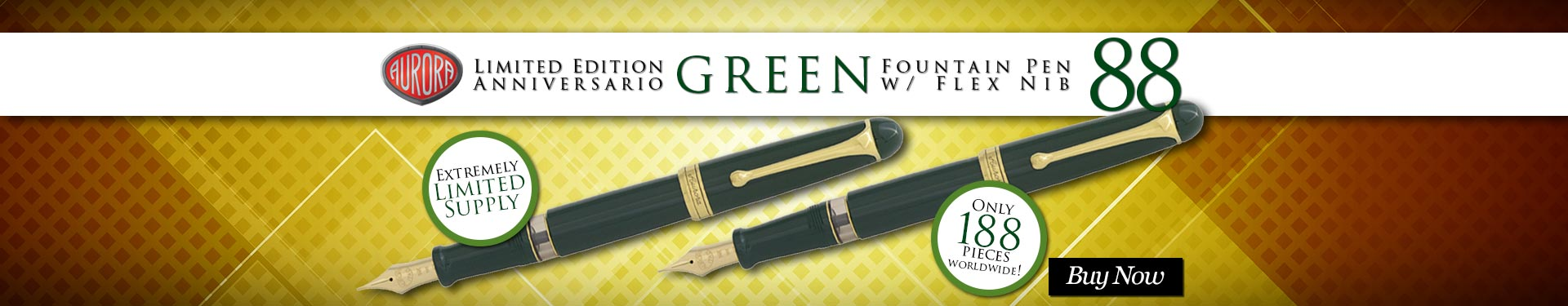 Aurora Limited Edition 88 Anniversario Fountain Pen w/ Flex Nib - Green