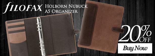 Filofax Holborn Nubuck A5 Organizer - 20% Off
