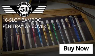 Retro 51 16-Slot Bamboo Pen Tray w/ Cover