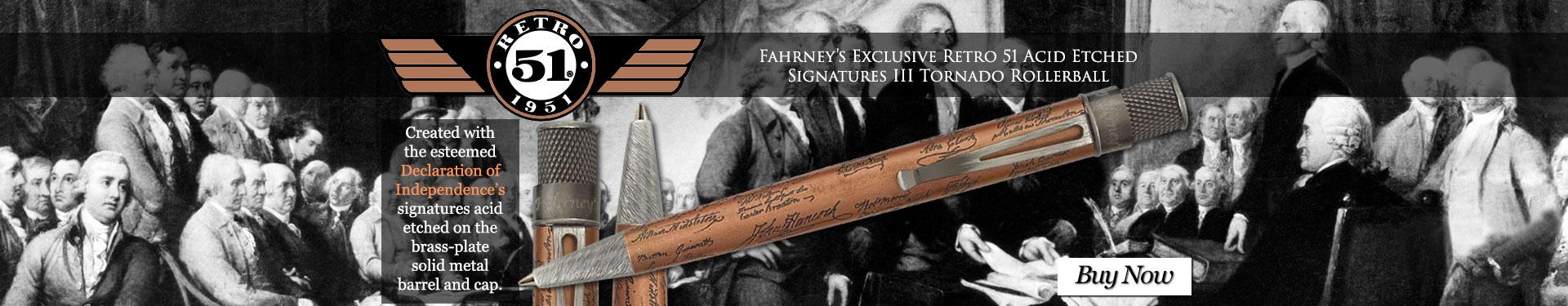 Fahrney's Exclusive Retro 51 Acid Etched Signatures III Tornado Rollerball