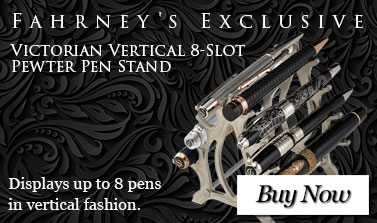 Fahrney's Exclusive Victorian Vertical 8-Slot Pewter Pen Stand