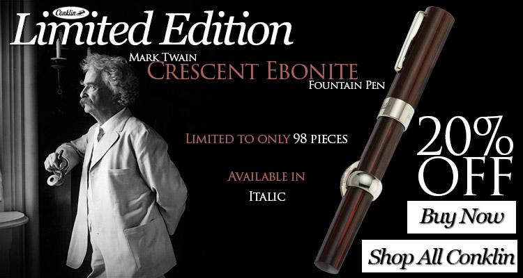 Conklin Limited Edition Mark Twain Crescent Ebonite Fountain Pen