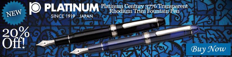 Platinum Century 3776 Transparent Rhodium Trim Fountain Pen